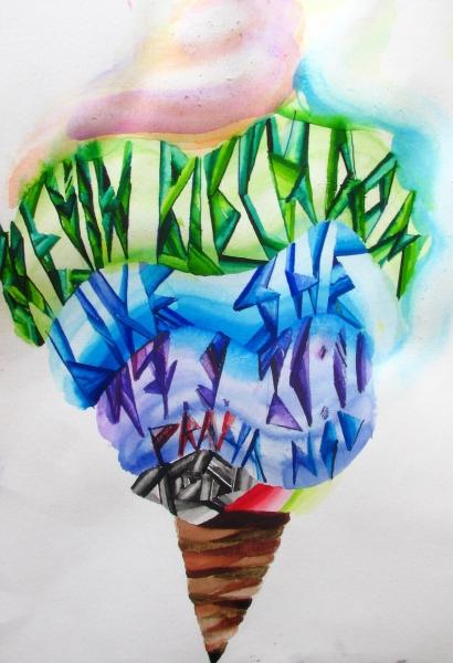 akvarel na papíře
