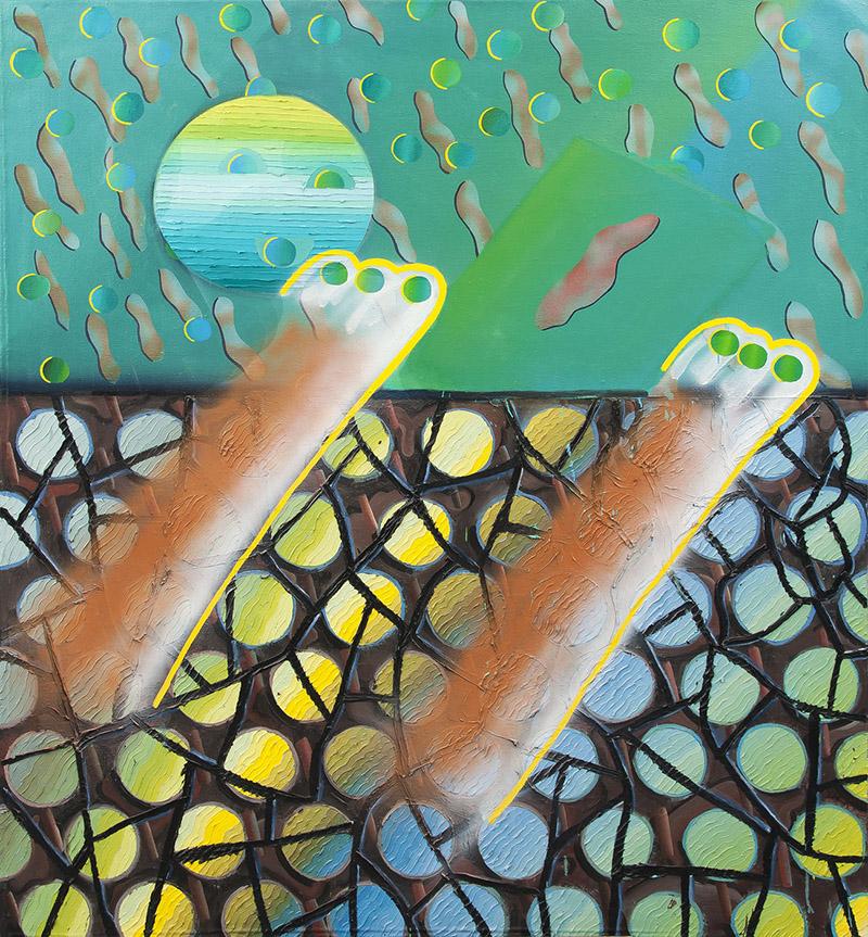 olej a sprej na plátně, 2017